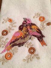 Set of 2 Embroidered  Tea Towels with Multi-Color Birds Zundt design