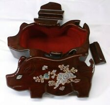 VTG Asian Carved Wood Pig w Butterfly Floral Inlay Puzzle Jewelry Trinket Box