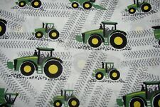 John Deere Tractors White Cotton Fitted Cot Sheet Handmade