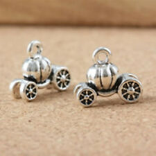 10pc 11x13x6mm antique silver finish metal pumpkin cart pendant-4658a