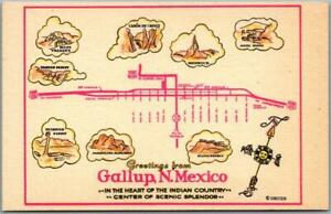 Gallup, New Mexico ROUTE 66 Roadside Postcard Road Map / Artist's Drawings 1960s