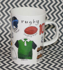 DUNOON RUGBY MUG/CUP! FINE BONE CHINA! PLAYER FIELD EQUIPMENT PICTURES! ENGLAND!