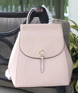 KATE SPADE ADEL MEDIUM FLAP BACKPACK TOTE BAG WARM BEIGE LEATHER $299