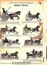 1893 Vintage Marshall Fields Catalog Pg ~ Iron Toys ~ Sulky ~ Pony Express