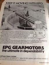L3-7 Ephemera 1982 Folded Advert Epg Gearmotors Gears Ltd Aylesbury