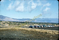 Parking Lot Cars Mountains Scenic 1950s 35mm Slide Red Border Kodachrome