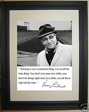 "Coach Vince Lombardi Green Bay Packers  ""winning"" Famous Quote Framed Photo #hv2"