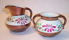 VINTAGE COPPER LUSTER CREAMER & SUGAR WADE OR GRAYS POTTERY CHINA