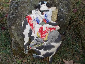 Antique doll Japan kukuribina oshie limited mizusawa area flute boy on ox #1216