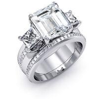 1.70 Ct. Three Stone Emerald Cut Diamond Engagement Ring W/ Band GIA E, VVS1 14K