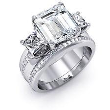 4.20 ct. Three Stone Emerald Cut Diamond Engagement Ring w/ Band J, VS1 GIA Plat