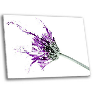 Framed Canvas Floral Modern Wall Art Picture Prints Purple Flower Paint Brush