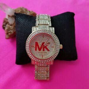 Damen Michael Kors Uhr Strass Gold Neu