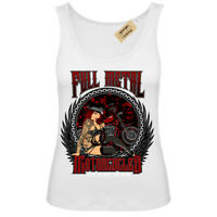 Full Metal Motorcycles T-Shirt ready to ride biker Vest White Womens