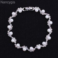 Light Ivory Pearl Silver Crystal Party Gift Bridal Wedding Bracelet