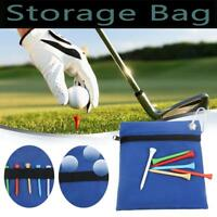 Zippered Golf Tee Ball Storage Bag Holder with Carabiner Golfing Accessories