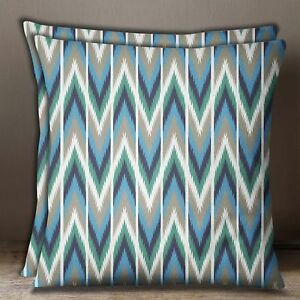 Square Brown Sofa Pillow Case Cotton Poplin Ikat Print 2 Pcs Cushion Cover