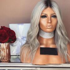 Whimsical Two-Tone transition Brazilian human hair wavy silver grey long Wig