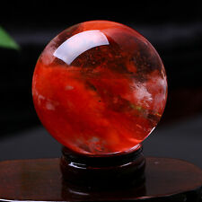 100MM +Stand Red Bloodstone Crystal Ball Sphere Natural Quartz Obsidian Healing