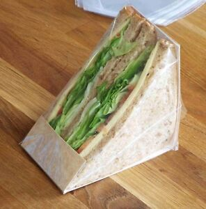 1000 x Kraft Triangular Cut Sandwich Kits (ucard,bags,clear label)(NSRCTCSKIT)
