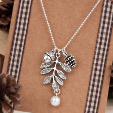 "Necklace Antique Silver Pine Cone Acorn Leaf White on 18"" chain with Gift Bag"