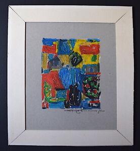 Óleo Sobre Papel Abstracto Cubista Firmado Hoffmann a Identificar Años 1972
