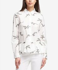 $215 DKNY WOMENS WHITE EMBROIDERED BUTTON-UP SHIRT LONG SLEEVE PEPLUM TOP SIZE M