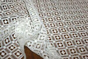 1m x 1.24m 'GEOMETRIC PRINCESS' IVORY WHITE LACE Fabric, Sewing Material