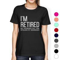 Retired Grandkids Womens Graphic Humorous Tee Shirt For Family Day
