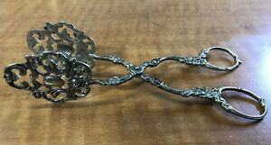 "Exquisite Small 6"" Antique 835 Fine Silver Floral Scrollwork  Pastry Cake Tongs"