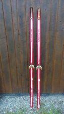 "OLD Interesting Vintage 74"" Long Skis Has Old RED WHITE Finish Signed KARHU"