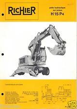 ▬►Prospectus de 1970  RICHIER  PELLE SUR PNEUS FORD  H 15 P4  No Poclain