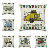 Square Happy Campers Cotton Linen Pillow Case Cushion Cover Car Home Decor