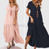 ZANZEA Damen Baumwolle Sommerkleid Layered Dress V-Ausschnitt Übergrößes Kleid