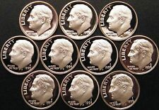 1990~1999 S Roosevelt Dime Gem Proof Run 10 Coin Decade Set US Mint Lot..