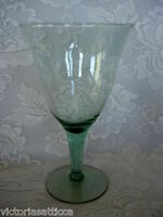 Unusual Large 16 oz.Collectible Lt. Sage Green Blown Glass Water Goblet