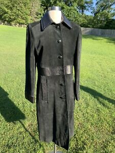 VENUS WILLIAMS Wilson's Leather Soft Suede Black COAT Goth Punk Steampunk Medium