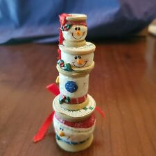 New ListingFour Midwest of Cannon Falls Eddie Walker Sew Sweet Spool Christmas Snowmen