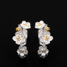 Solid 925 Sterling Silver Cherry Blossoms Flower Branch Line Stud Drop Earrings