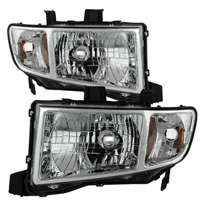 Fit Honda 06-14 Ridgeline Chrome Housing Replacement Headlights Lamp Pair Set