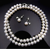 White Freshwater Pearl Necklace and Earrings Set with Sterling Silver