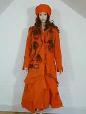 Zuza Bart lagenlook orange boiled wool coat with wool appliqué detail RRP £399 M