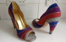 REPORT SIGNATURE DESIGNER WOMEN RAINBOW RED BLUE PURPLE HEELS SHOES SIZE UK 5 38