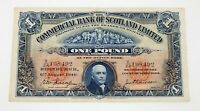 1940 Commercial Bank of Scotland Limited One Pound Note XF Condition P #331b
