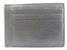 New Bally Mens Sink Business Card Holder Wallet Black Calf Grained Leather Italy