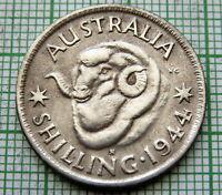 AUSTRALIA GEORGE VI 1944 S ONE SHILLING, RAM'S HEAD, SILVER