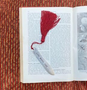 Cats  Books Wine Handcrafted Upcycled Antique Silver Plated Fish Knife Bookmark