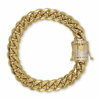 Cuban Link Bracelet Gold Plated Stainless Steel With Cubic Zirconia Box Clasp