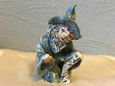 Figurine Wizard hand crafted signed clay sculpture mythical magic man art gnome