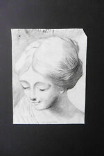 FRENCH SCHOOL 18thC - PORTRAIT OF A YOUNG WOMAN - CHARCOAL  DRAWING